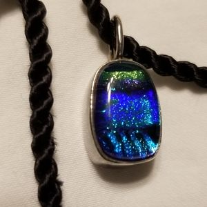 Vintage Dichroic Glass Sterling Silver Pendant